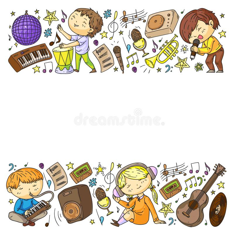 Children play music. Musical education, theatre, school. Children play music. Musical education, theatre school vector illustration