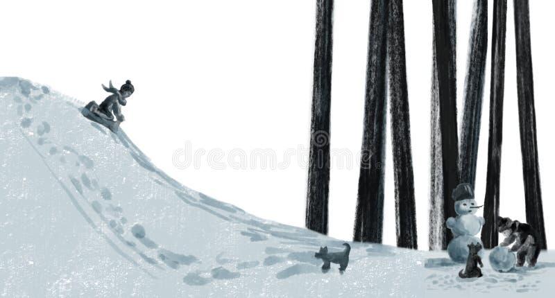 The children play outside in winter, sledding vector illustration