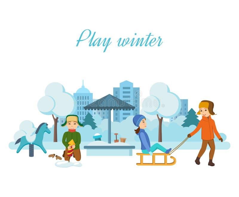 Children play in the playground, setup firework rocket in snowdrift. vector illustration