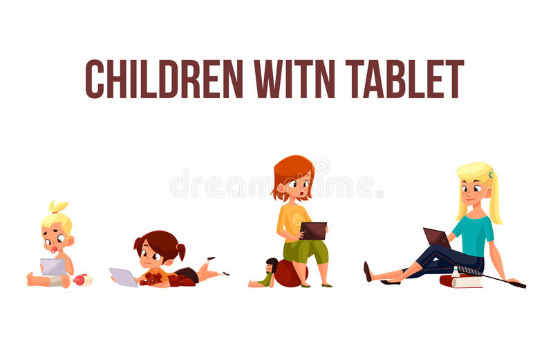 Children play in the smartphone or tablet royalty free illustration