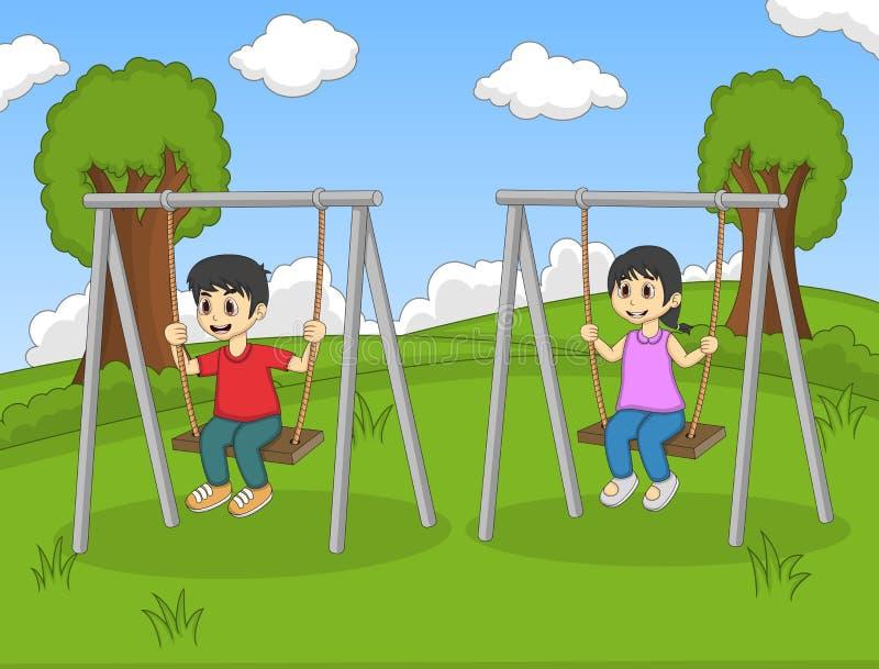Children Play Swing In The Park Cartoon Stock Vector ...
