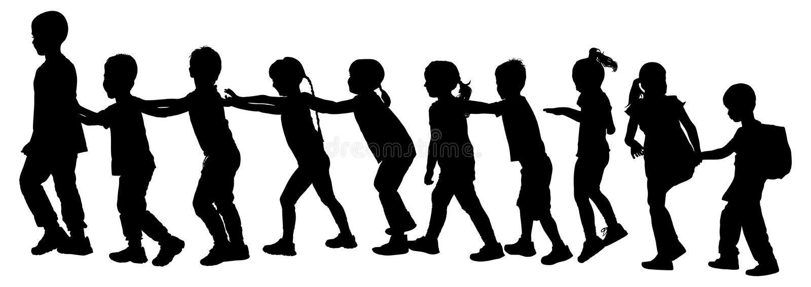 Children play train game silhouette. Children play train game silhouette illustration isolated on white background. Group of teens running in the park kids royalty free illustration