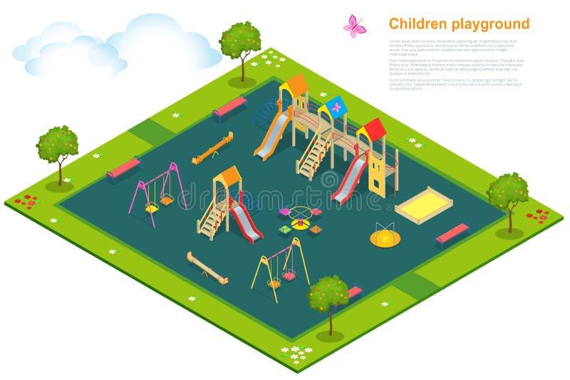 2 children playground Επίπεδο τρισδιάστατο isometric διάνυσμα διανυσματική απεικόνιση