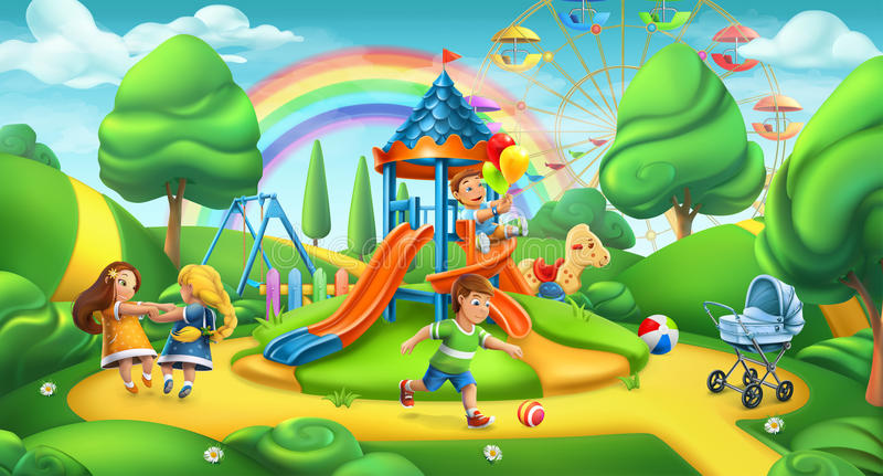 2 children playground Το τοπίο φύσης, σταθμεύει το διανυσματικό πανόραμα απεικόνιση αποθεμάτων