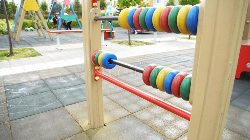 Children playground in autumn with various equipment for games stock photo
