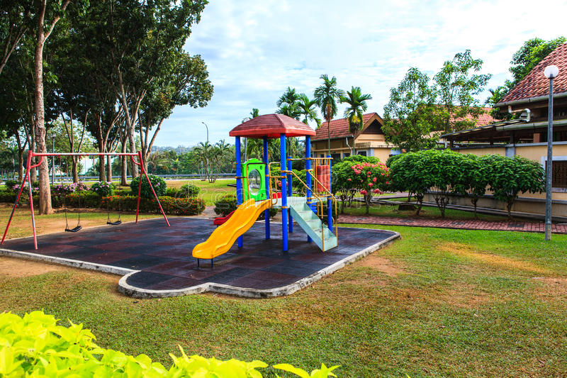 Children playground equipment. In summer season royalty free stock photo