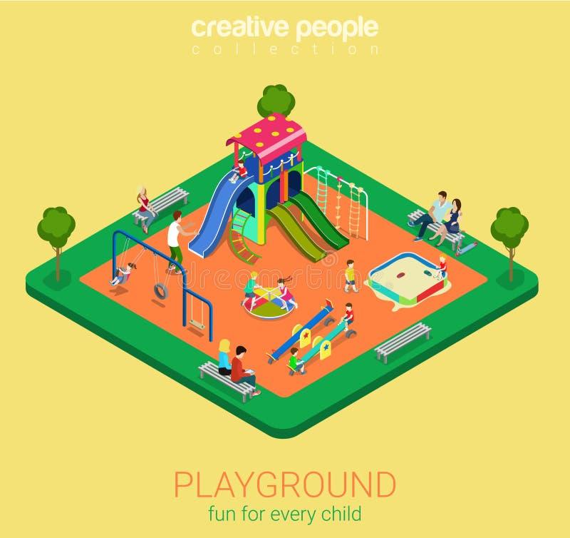 Children playground flat vector 3d isometric sandpit swing slide vector illustration