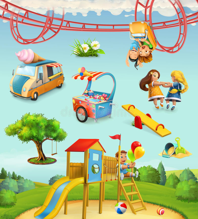 Children playground, outdoor games in the park vector illustration