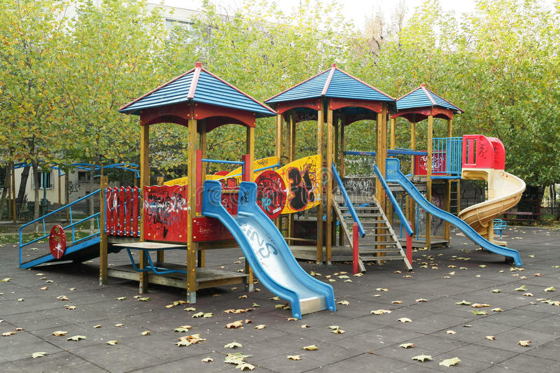 Download Children Playground In The Park Stock Image - Image of equipment, slide: 34841189
