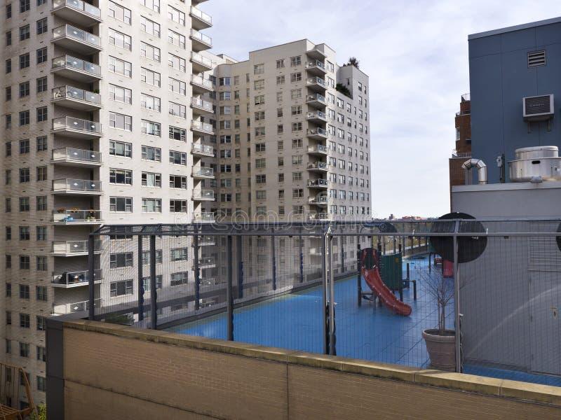 Children playground on rooftop in Manhattan New York stock photo