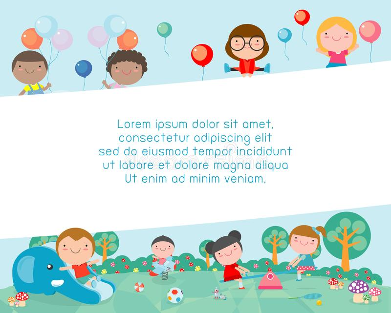 Children in the playground, Template for advertising brochure, kids at playground, your text ,Kids and frame,child and frame. Vector Illustration royalty free illustration