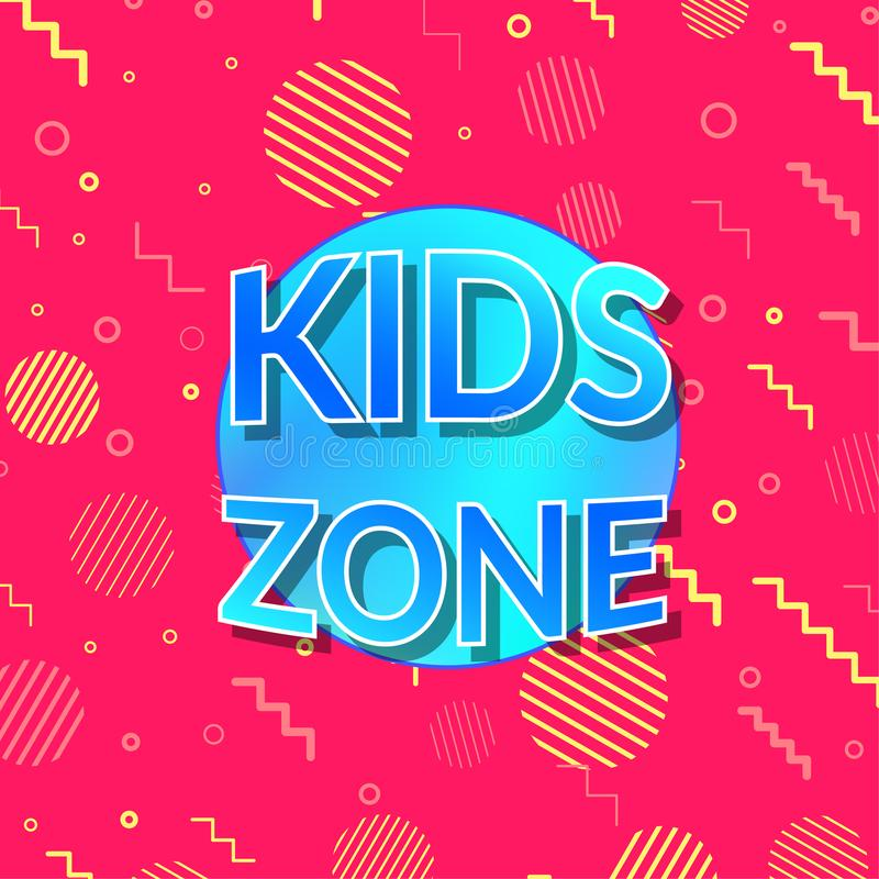 Children playground zone bright visible sign background. Kids Playroom Banner. Bright and Colorful Illustration for Baby area Decoration. Game Room Mark stock illustration