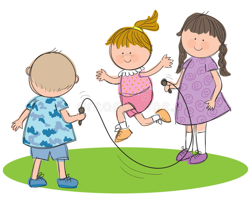 Children Playing. Hand drawn picture of children playing with a skipping rope, illustrated in a loose style. Vector eps available