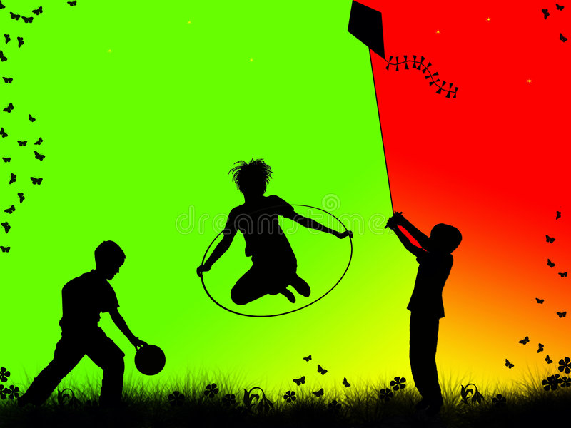Children playing. Silhouettes of children playing sports royalty free illustration
