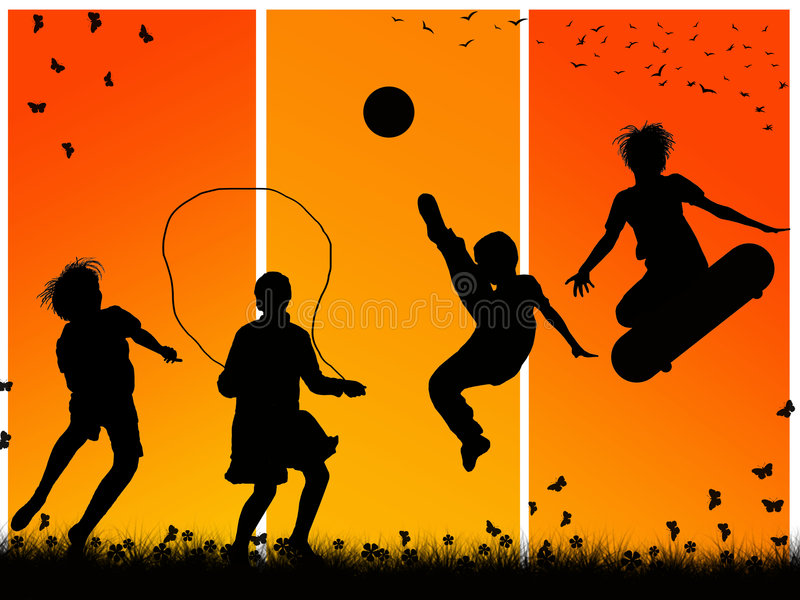 Download Children playing stock illustration. Illustration of football - 9022768