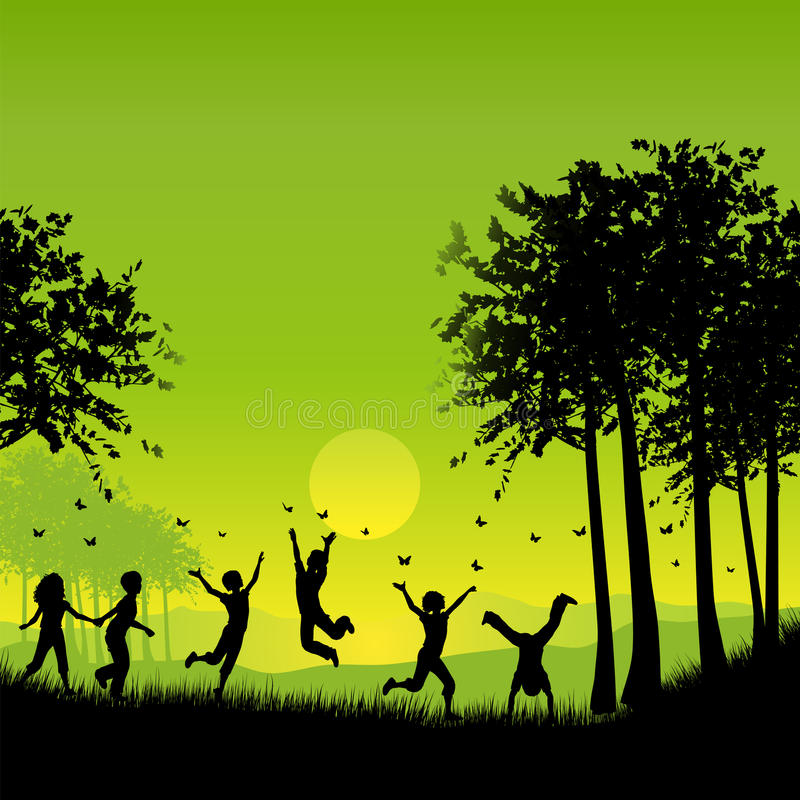 Download Children playing stock vector. Image of play, silhouette - 9936617
