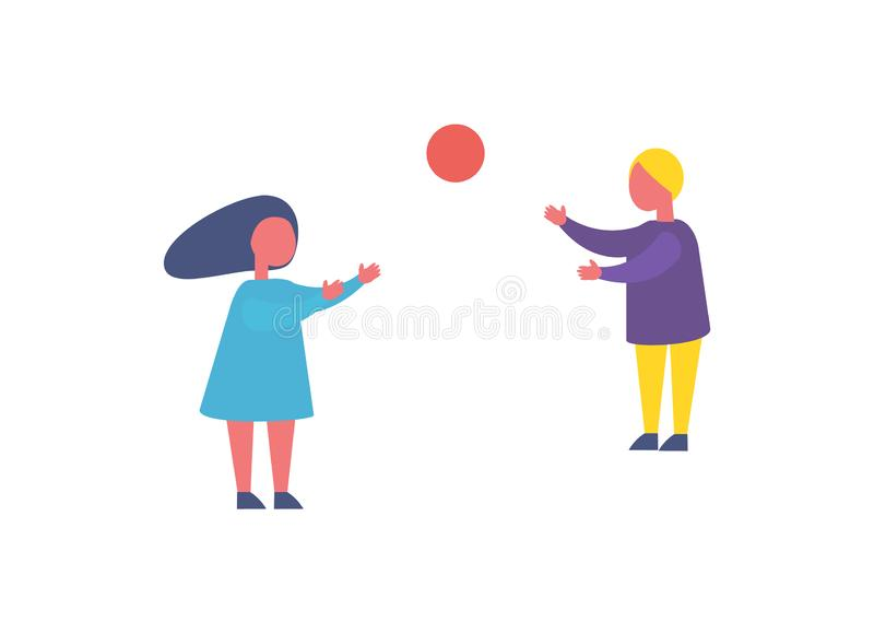 Children Playing with Ball in Park Cartoon Icon. Children playing games with ball in park cartoon vector isolated icon. Girl and having fun together play royalty free illustration