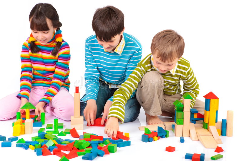 Children Playing With Blocks Stock Image - Image of shape ...