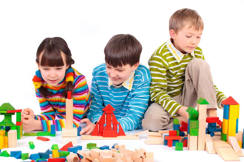 Children Playing With Blocks Stock Photo - Image of ...