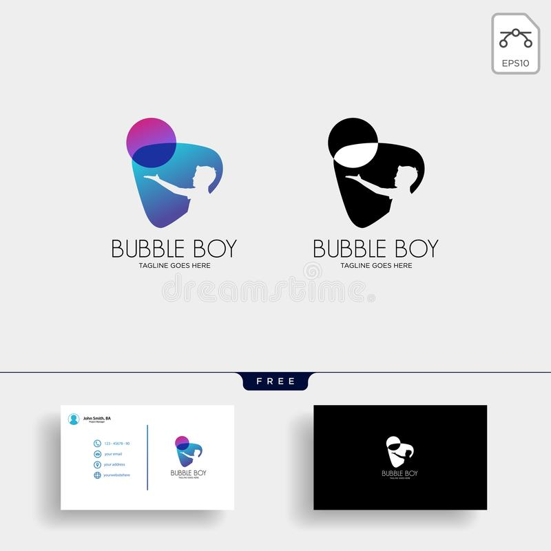 children playing bubble or balloon logo template with business card vector illustration