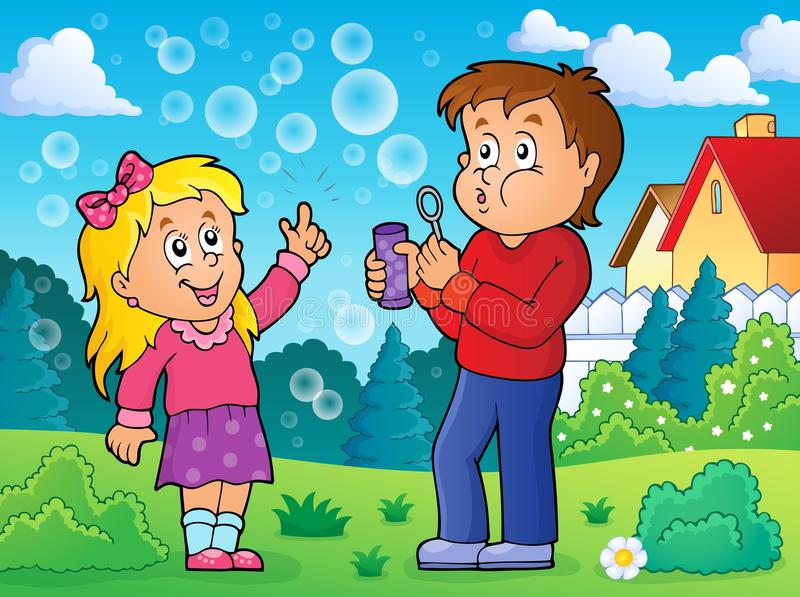 Children playing with bubble kit theme 2 royalty free illustration