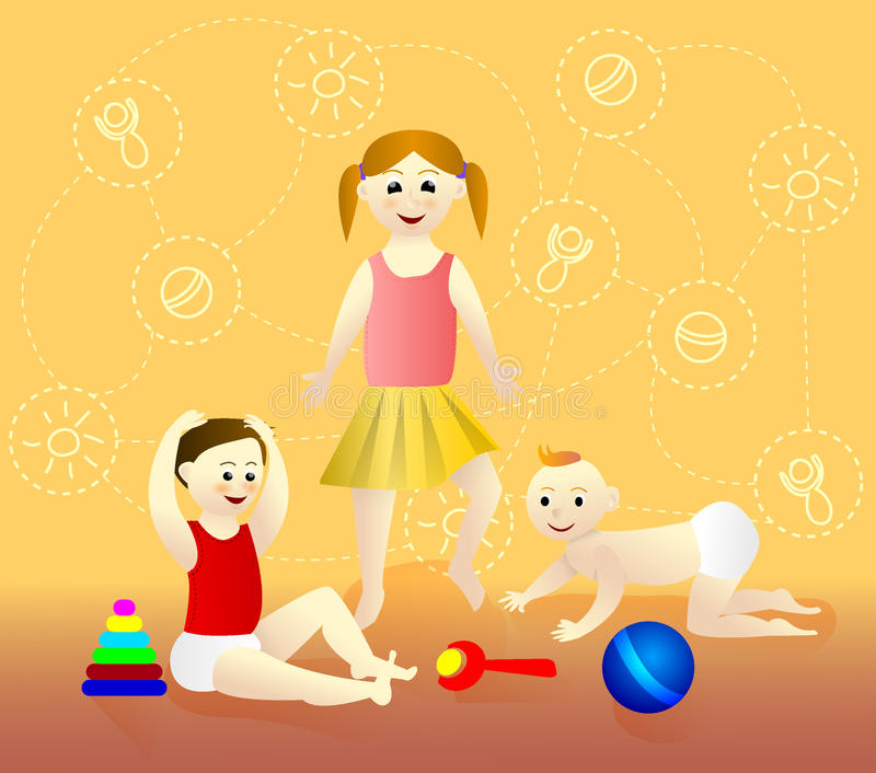 Children playing. Cartoon Character. vector illustration