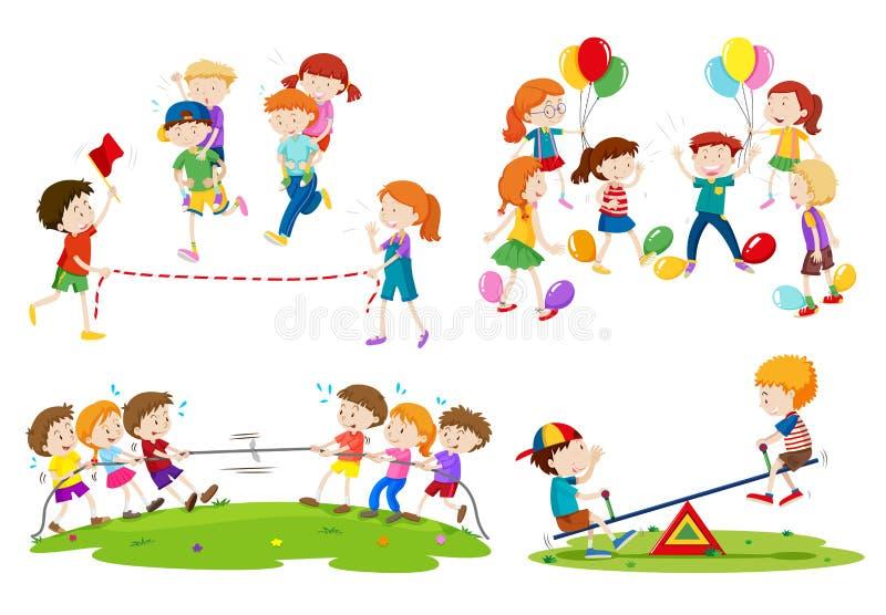 Children playing different games. Illustration vector illustration