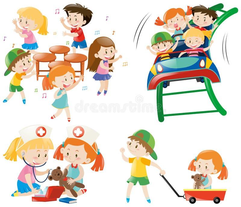 Children playing different games. Illustration stock illustration