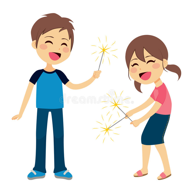 Children Playing Fireworks. Cute children boy and girl playing with sparkler fireworks royalty free illustration