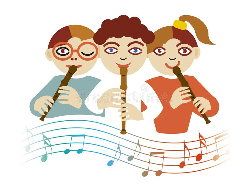 Children playing on the flute stock illustration