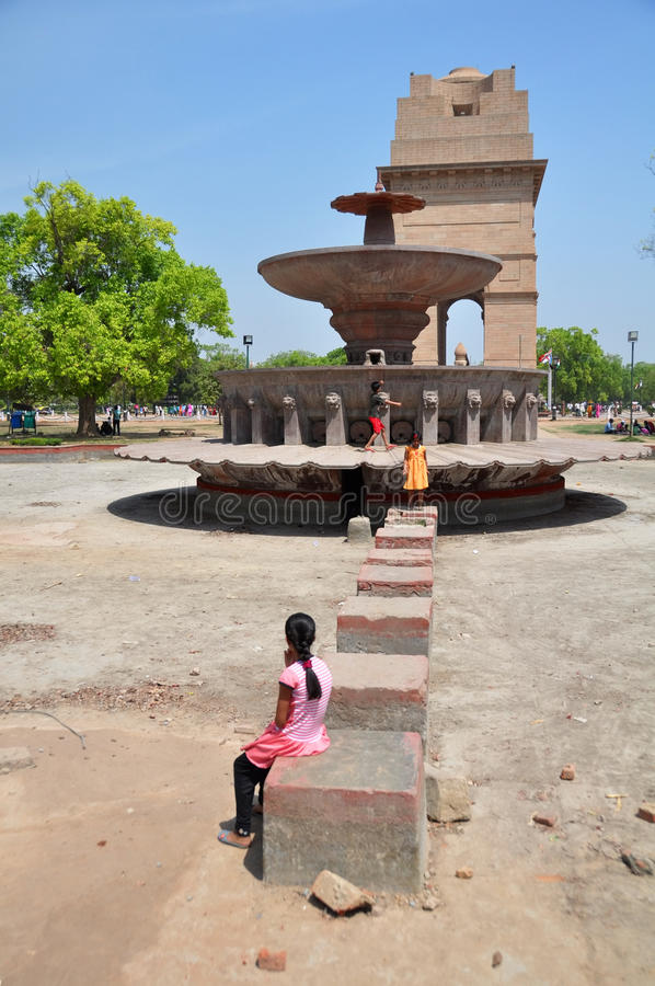 Children Playing in Front of India Gate. stock photography