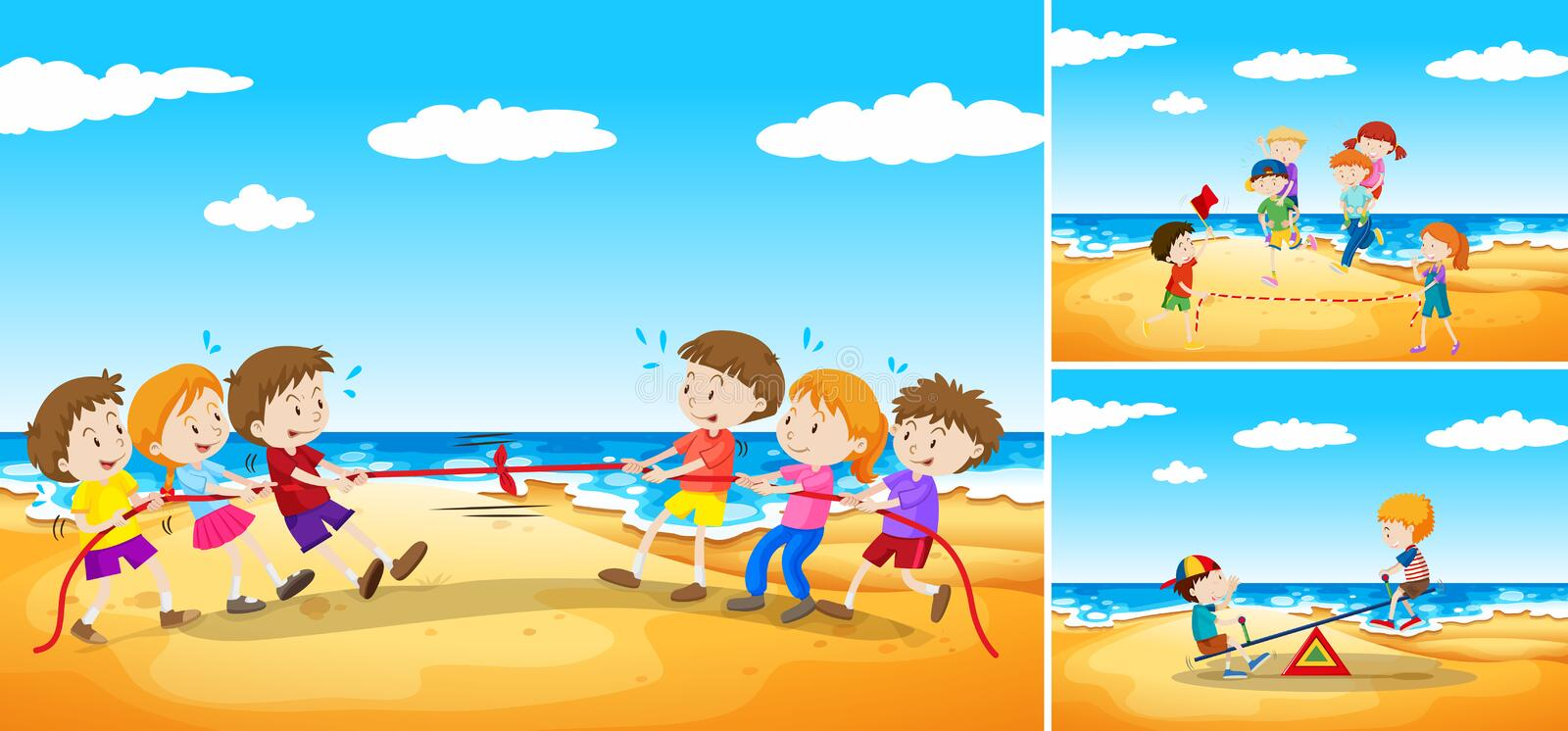 Children playing games on the beach. Illustration royalty free illustration