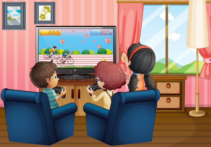 Children playing games at home. Illustration royalty free illustration
