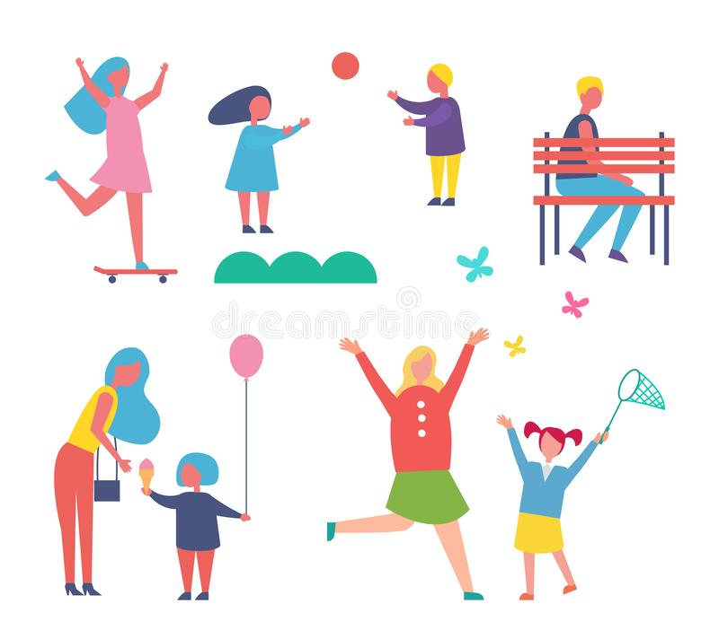 Children Playing Games Set Vector Illustration. Children playing games with inflatable ball. Isolated icons, skating woman, mother and child catching butterflies vector illustration