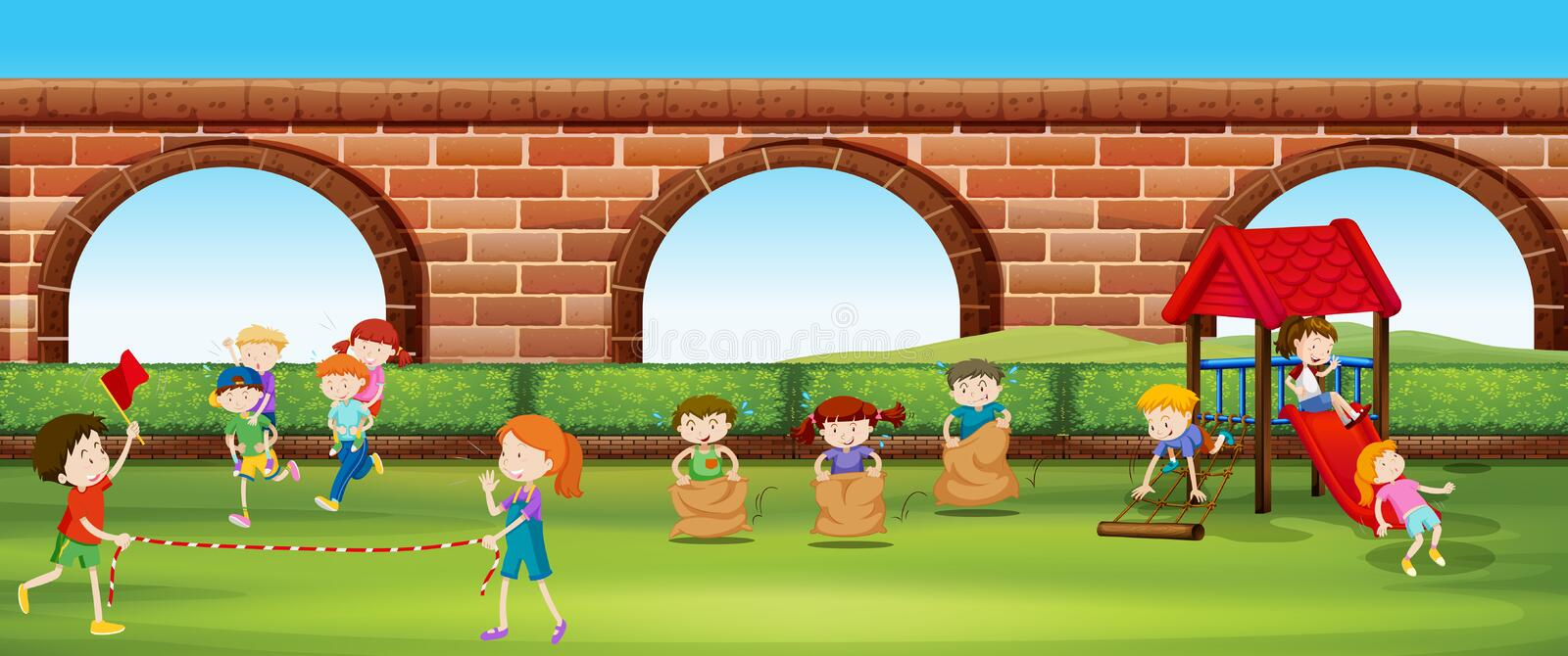 Children playing games in the park. Illustration royalty free illustration