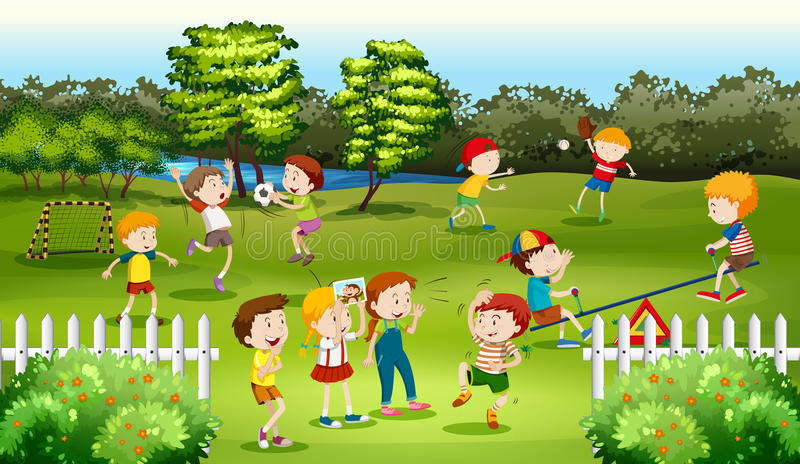 Children playing games in the park. Illustration stock illustration