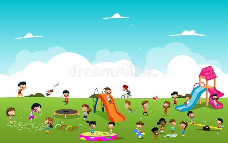 Children playing games in the park illustration. Linear seamless pattern. Vector vector illustration