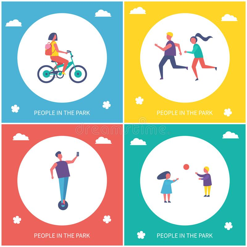 Children Playing Games in Park Cartoon Banner. Children playing games in park isolated cartoon vector banner set. Girl riding by bicycle, boy on unicycle and vector illustration