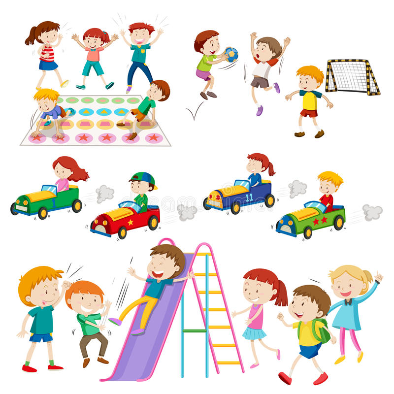 Children playing games and sports. Illustration vector illustration