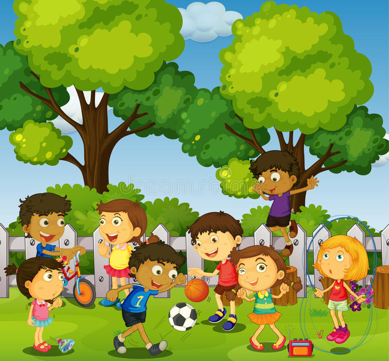 Children playing games and sports in park. Illustration royalty free illustration
