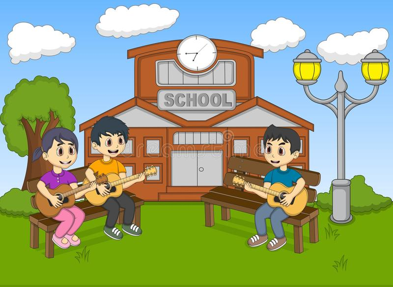 children playing guitar in front of their school cartoon stock vector illustration of funny. Black Bedroom Furniture Sets. Home Design Ideas