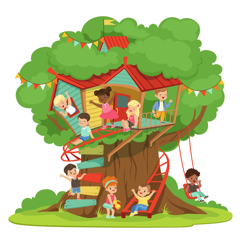 Children playing and having fun in the treehouse, kids playground with swing and ladder colorful detailed vector royalty free illustration