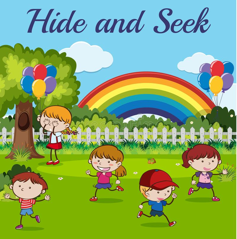 Children playing hide and seek royalty free illustration