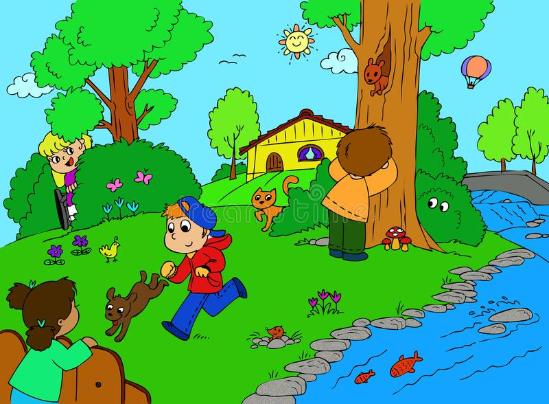 Children playing hide and seek. Several children playing hide and seek in the countryside, one of them in on wheelchair illustration stock illustration