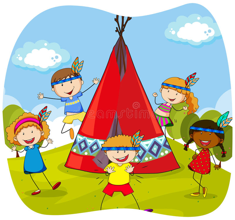 Children playing indians by the teepee vector illustration