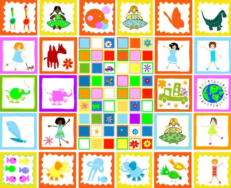 Children playing, kids world. Illustration royalty free illustration