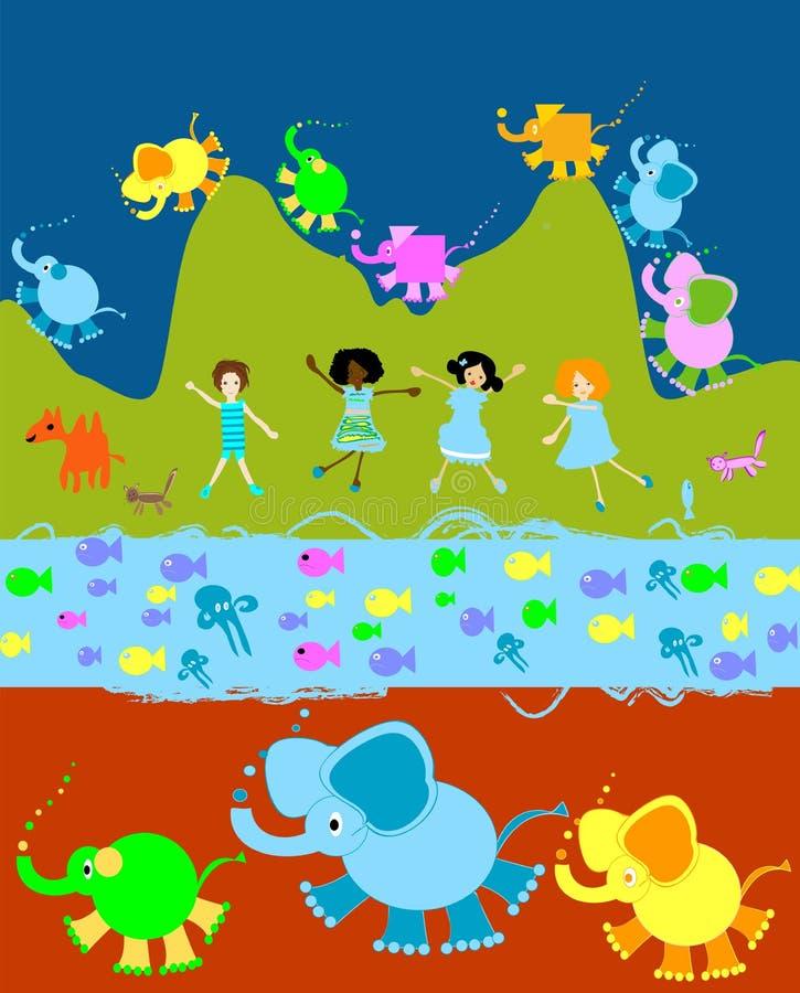 Children playing, kids world royalty free illustration