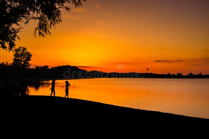 Children Playing At The End Of The Day stock photos