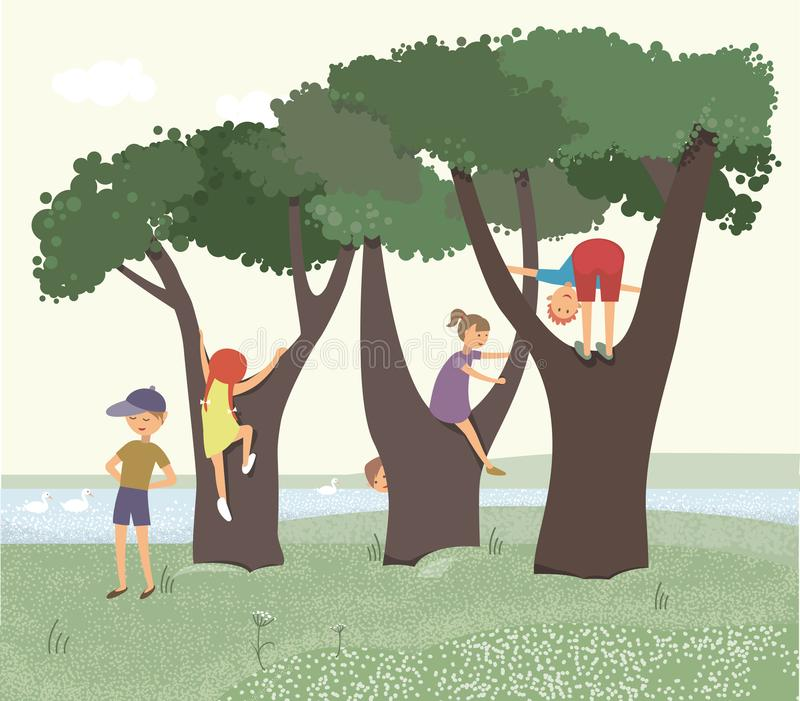 Children playing on lawn with trees. The color illustration vector illustration
