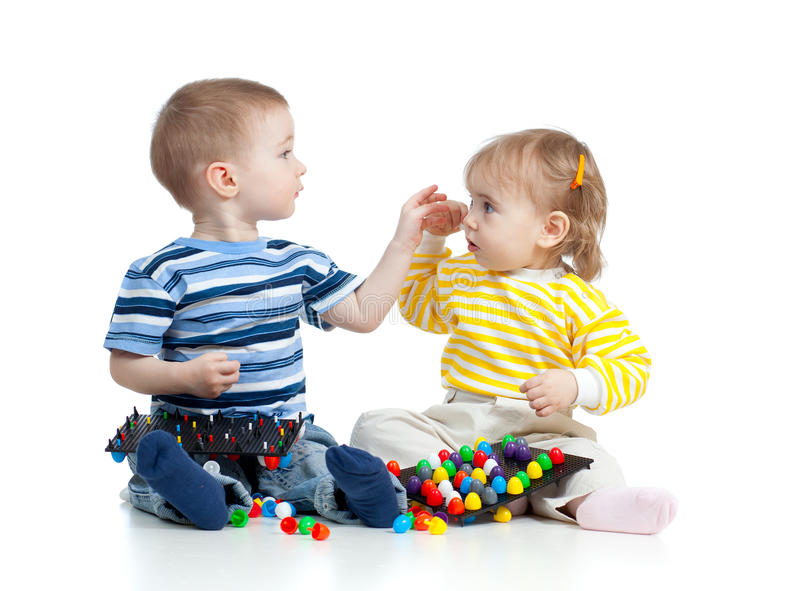 Download Children Playing With  Mosaic Toy Stock Photo - Image of adorable, assemble: 24236504